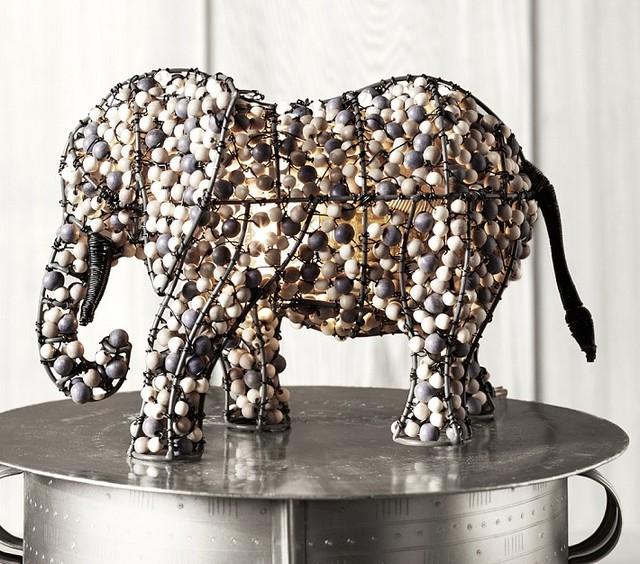 Pottery Barn Beaded Lamp Shade: Beaded Elephant Lamp