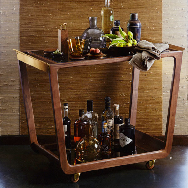 Roost Geneva Walnut Bar Cart modern bar carts