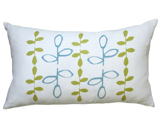 Balanced Design - Hand Printed Linen Pillow - Branch, Blue/Yellow, 12 x 20 - The modern branch design on this throw pillow has been hand-printed and sewn in the United States. You could add this to a crisp, white bed or a collection of throw pillows on your sofa for a graphic pop of color. And you can feel good about its ecofriendly origins.