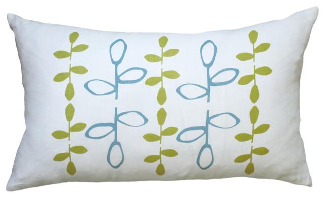 Hand Printed Linen Pillow - Branch, Blue/Yellow, 12 x 20 contemporary-decorative-pillows