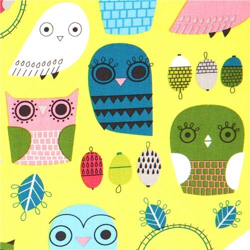 green fabric with funny owls Robert Kaufman  fabric