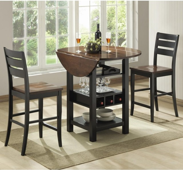 Ridgewood 3 Pc Counter Height Drop Leaf Dining Set Black BDI444