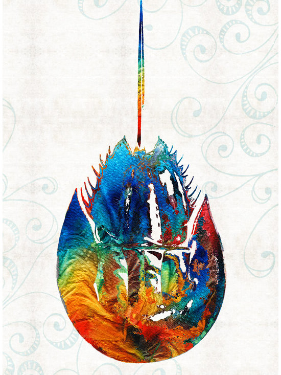 Animals, Fish and Birds - Colorful Horseshoe Crab Art by Sharon Cummings