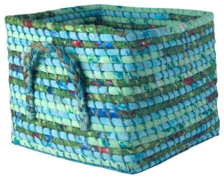 Fabric Covered Storage Basket In Green And Turquoise modern baskets