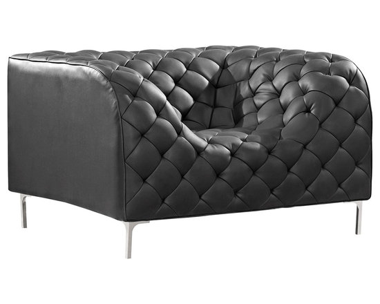 """Zuo - Zuo Modern Providence Black Armchair - Featuring a boxy style with dramatic tufting this modern armchair will add style and personality to any space. Wrapped in a black leatherette fabric with chrome legs this armchair is almost like a piece of art. From Zuo Modern. Chrome construction. Black leatherette upholstery. 28"""" high. 45 1/2"""" wide. 36 1/2"""" deep. 17 1/2"""" seat width. 18 1/2"""" seat height.  Chrome construction.   Hand-crafted tufted detailing.  Black leatherette upholstery.   28"""" high.   45 1/2"""" wide.   36 1/2"""" deep.   17 1/2"""" seat width.   18 1/2"""" seat height."""