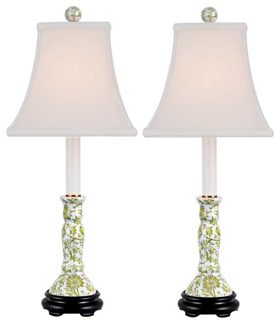 Asian Set of 2 Lemon Green Porcelain Candlestick Table Lamps traditional-table-lamps