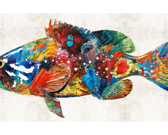 Animals, Fish and Birds - Colorful Grouper Art Fish by Sharon Cummings