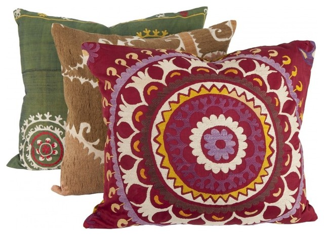 Vintage Suzani Pillow, Large mediterranean pillows