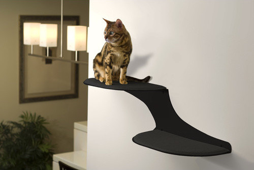 Clouds Wall Mounted Faux Fur And Metal Cat Perch Modern