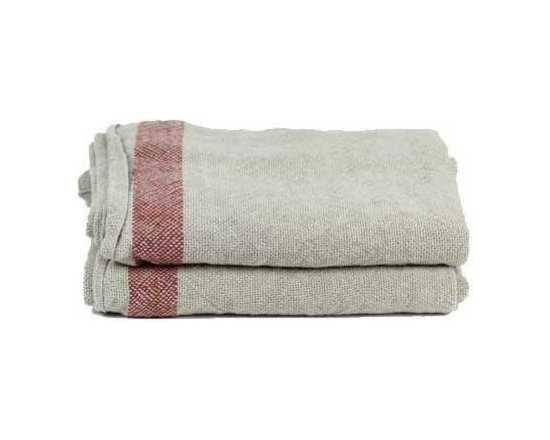 Linen Day Blanket, Natural/Red Stripe -