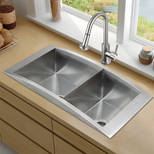 Vg15116 top mount stainless steel kitchen sink faucet for Best kitchen faucet for double sink