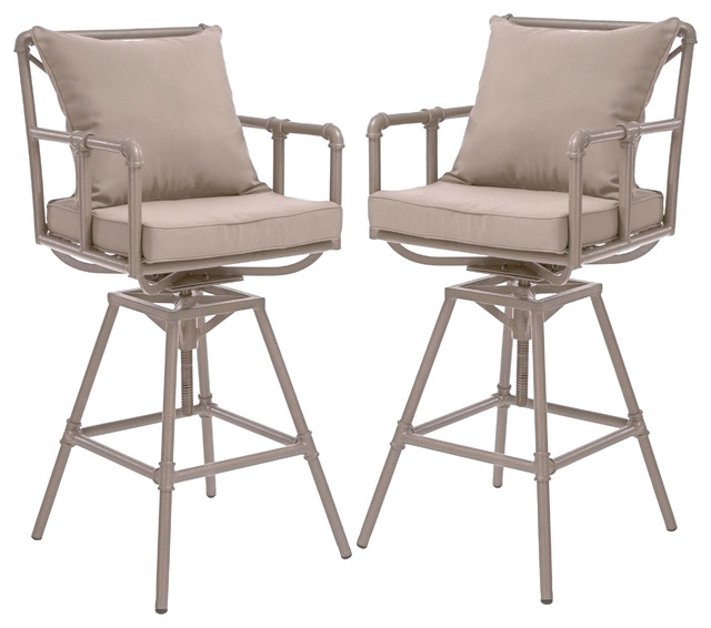 Tallahassee Outdoor Adjustable Height Swivel Bar Stools