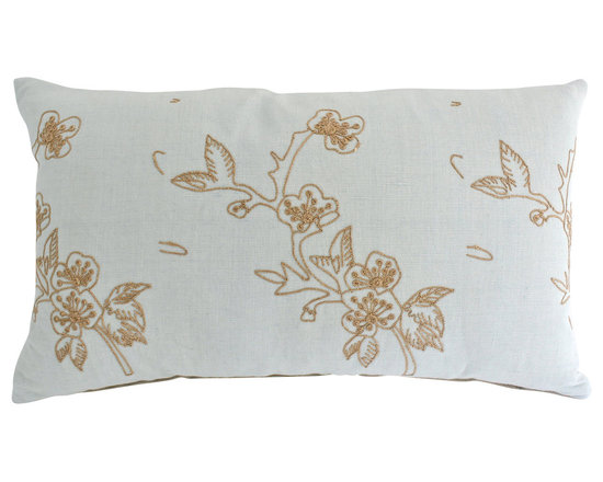 The Pillow Studio - Embroidered Lumbar Linen Pillow Cover in Smokey Blue with Embroidered Flowers - This embroidered linen lumbar pillow cover is both contemporary and delicate. I love it!