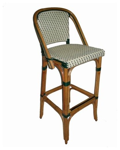 Trocadero Rattan Bar Stool Black Or Green