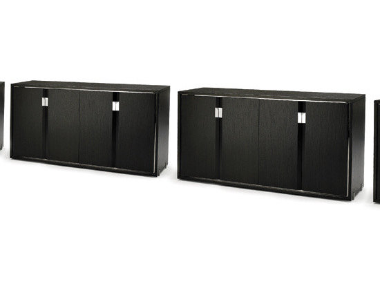 LIMITLESS - WHW-5000 - The Mars Cabinet (WHW-5018) has a mirrored stainless steel frame which echoes the Eudora table details. The inset top shelf of black glass gives another dimension of play on texture with in this stunning side board. There is functionally configured compartments Inside the Mars dining cabinet. Stainless steel hardware features the bevel design while a band of stainless steel frames the cabinet. The Mars dining cabinet with its modern dexterity creates a cohesive look and unifying atmosphere.