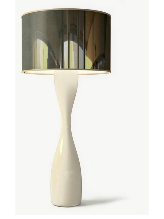 Viso - Juju Floor Lamp - Juju Floor Lamp features a Black Velvet or Silver Mylar shade with a polycarbonate body with a high gloss automotive finish in Black or White. Four 100 watt, 120 volt A19 type Medium base incandescent bulbs are required, but not included. Shade is 43.9 inches wide x 24 inches high. Overall height is 92.9 inches.
