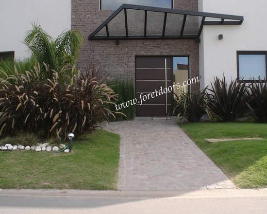Modern front entry doors / contemporary front entry doors - Solid wood contemporary entry door with aluminum inserts, sidelight and stainless steel pull