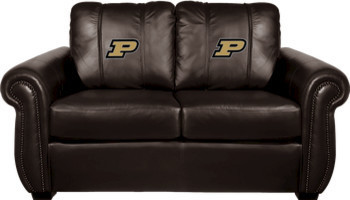 Purdue University NCAA Chesapeake Brown Leather Loveseat traditional