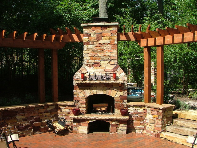 ada pool natural stone wall and outdoor fireplace