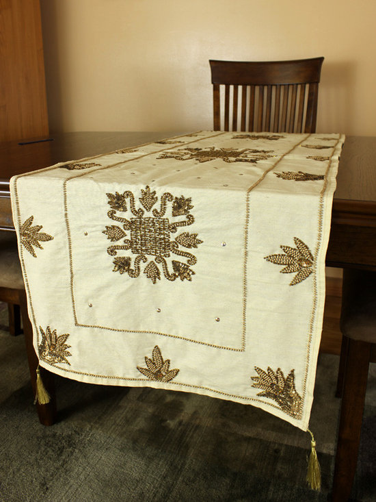 """Elegant Table Runners - """"Medieval Royalty"""" table runner. Beiget color. Hand crafted beautifully in India. Gold"""