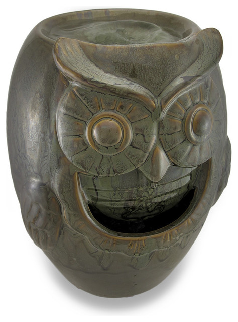 Ceramic owl table top water fountain traditional indoor fountains