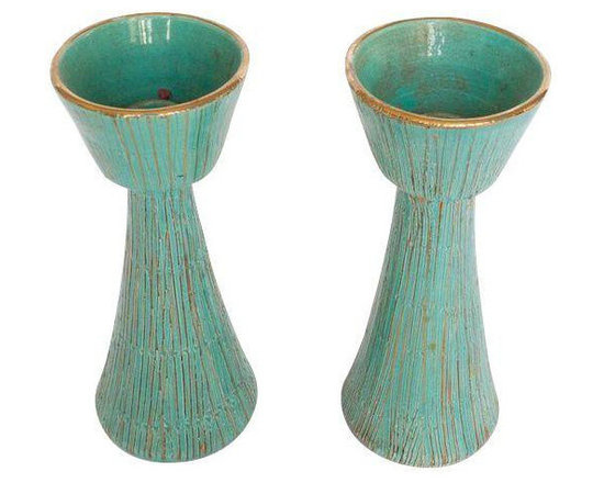 Vintage Italian Pottery Candlesticks - Pair - $300 Est. Retail - $150 on Chairis -