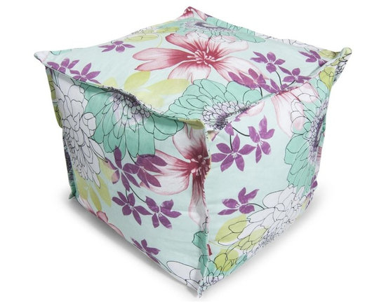 Comfort Research - Bean Bag Ottoman in Multi Scribble Floral - Covered in durable polyester fabric & filled with polystyrene bean. Filled with ultimaX beans. Double-stitched and double-locking zippers. Warranty: 30 days. No assembly required. 20 in. L x 20 in. W x 17 in. H (4 lbs.)This Cube Ottoman can be used as a footrest, an extra seat or a beautiful accent. This pouf is made with French seams for that beautiful finishing touch.