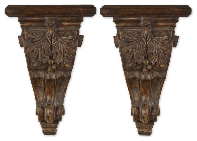 Uttermost Mora Distressed Chestnut Shelves, Set of 2 20613 traditional-wall-shelves