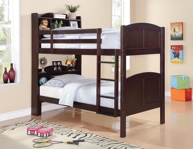 Cappuccino Bunk Bed with Bookcase traditional-kids-beds