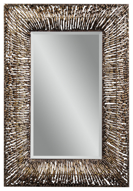 Metal spirals rectangle wall mirror eclectic mirrors for Rectangle mirror