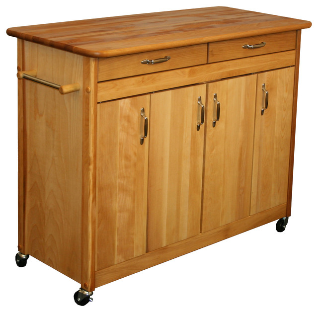 catskill craftsman butcher block kitchen island with towel