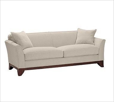 Greenwich upholstered sofa down blend wrap cushions for Sectional sofa down cushions