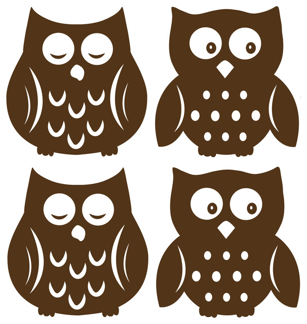 owl espresso silhouettes wall decal contemporary wall decals by wallpops. Black Bedroom Furniture Sets. Home Design Ideas