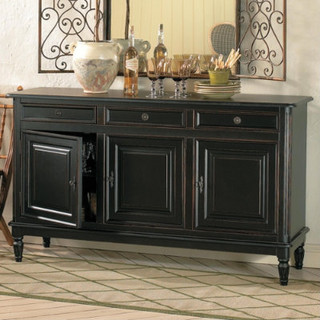 Dehaviland 3 drawer console traditional buffets and for Traditional dining room sideboard