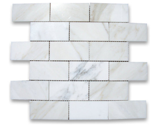 """Stone Center Corp - Calacatta Gold Marble Subway Brick Mosaic Tile 2x4 Polished - Calacatta gold marble 2"""" x 4"""" brick pieces mounted on 12"""" x 12"""" sturdy mesh tile sheet"""