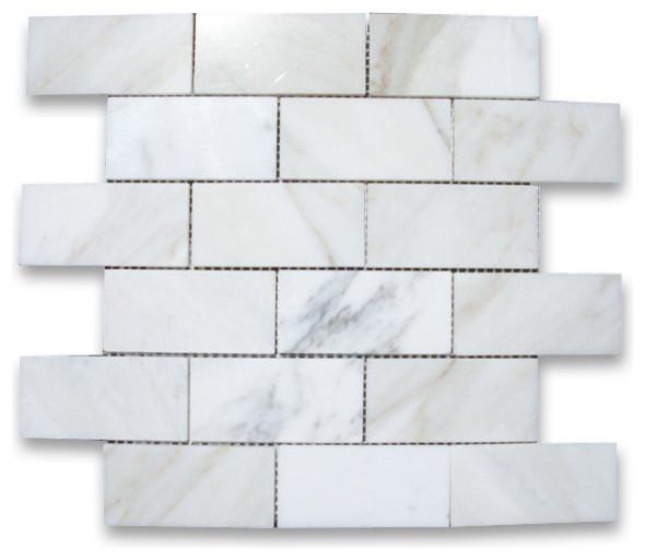 Calacatta Gold Marble Subway Tile : Calacatta gold marble subway brick mosaic tile