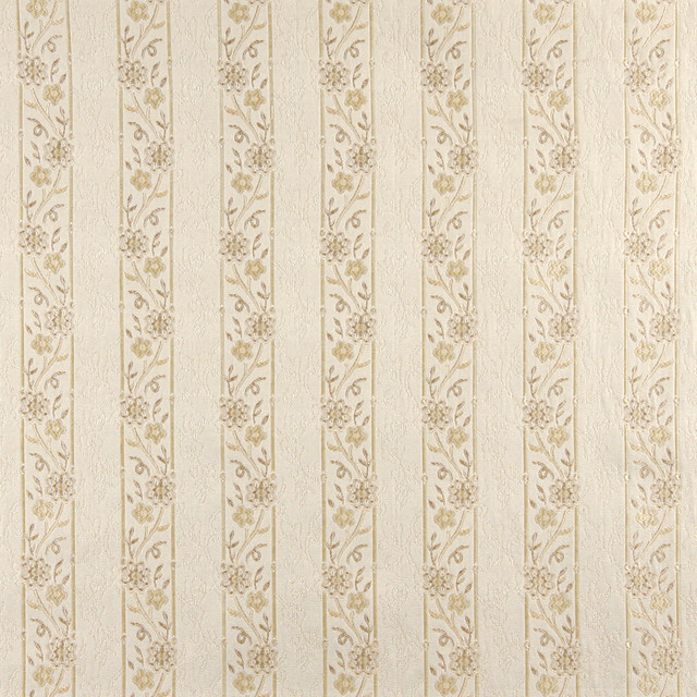 Ivory embroidered striped floral brocade upholstery fabric