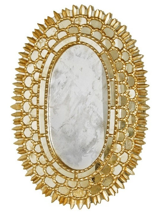 Worlds Away Carmelita Gold Oval Mirror - Gold Leaf Oval Mirror With Insets.