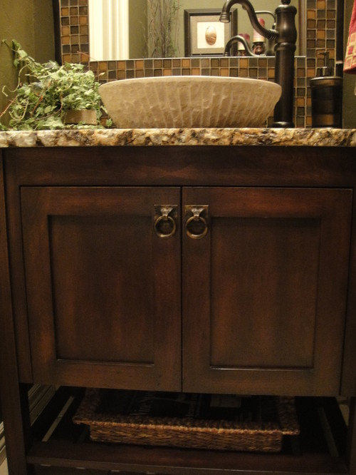 Want vessel sink and cabinet exactly as is for Bathroom ideas vessel sink