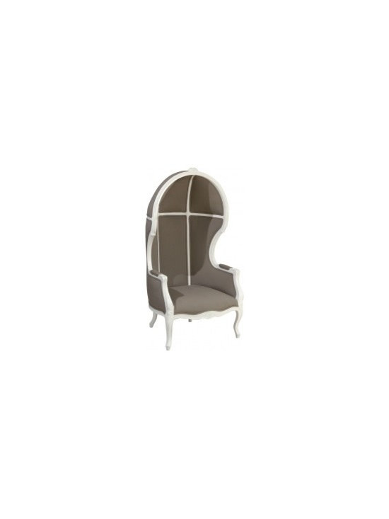Eco Friendly Furnture and Lighting - Grey Porter Chair.20th century * vintage * newly painted * reupholstered in durable grey fabric * double welt * original carved details
