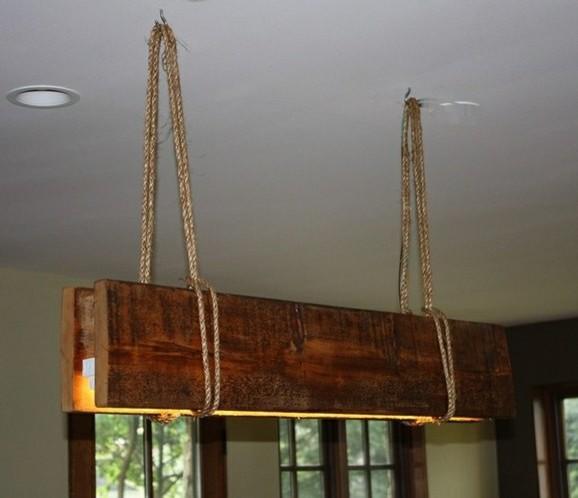 Rustic reclaimed wood suspended lamp - Rustic - Chandeliers - montreal - by AES Mobile Studios