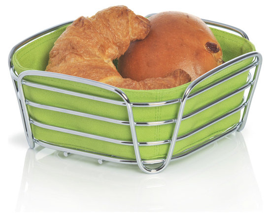 Blomus - Delara Bread Basket, Green, Large - The Blomus Delara Bread Basket is made with chrome-plated steel and cotton fabric insert.