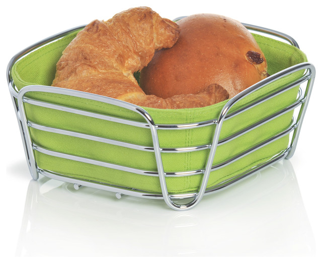 Delara Bread Basket, Green, Large modern-food-containers-and-storage