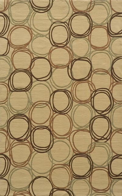 Contemporary Elements Round 8' Round Gold Area Rug contemporary-rugs