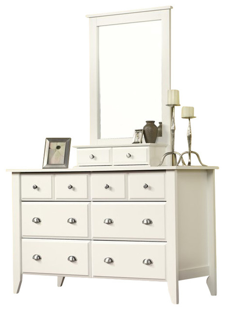 Sauder Shoal Creek Dresser and Mirror Set in Soft White beach-style-dressers