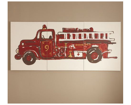 Fire Truck Triptych Artwork - A vintage fire engine makes a bright, whimsical wall statement.