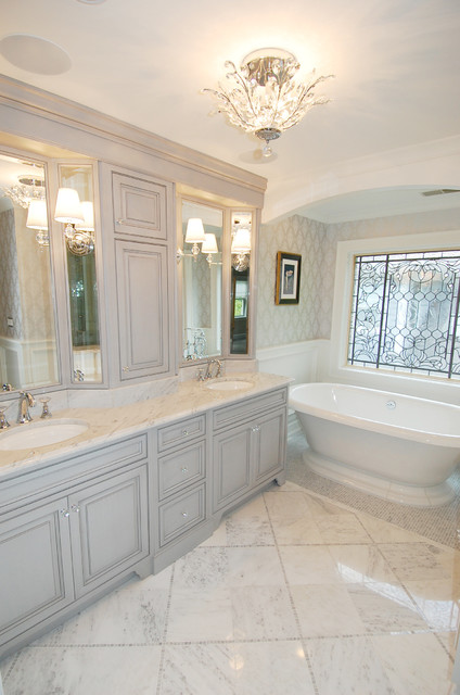 Traditional gray master bath for Grey and white master bathroom ideas