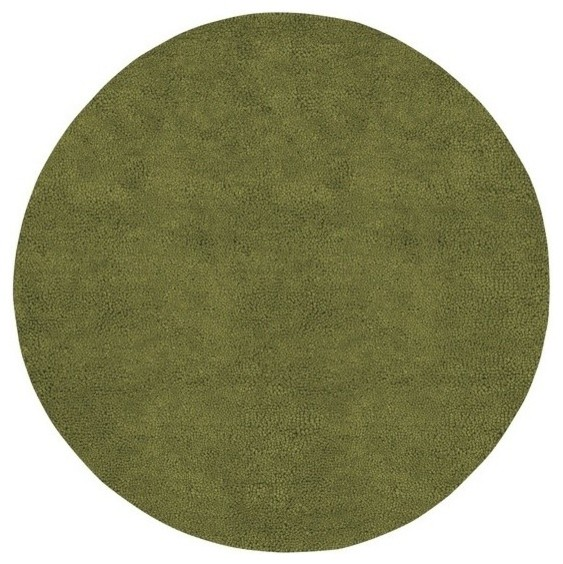 Aros 8 Ft Round Hand Woven Olive Green Wool Rug Aros 6
