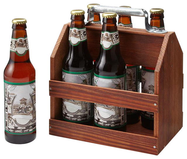 Wooden Six Pack Beer Carrier traditional-wine-and-bar-tools