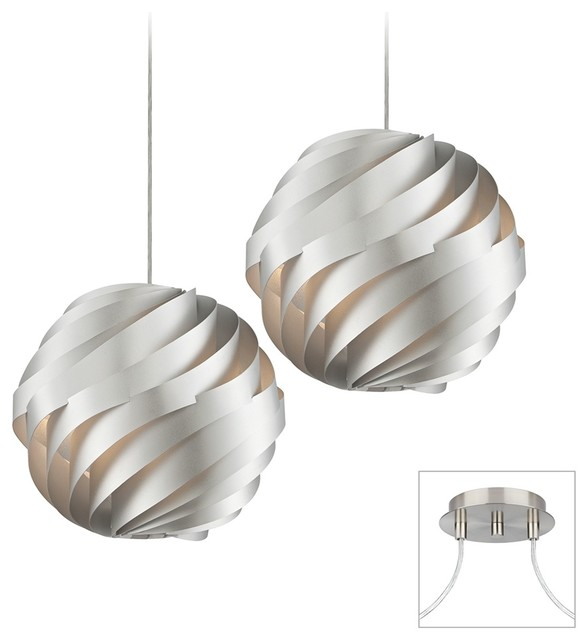 Silver Waves - Brushed Nickel Double Multi Light Pendant contemporary-chandeliers